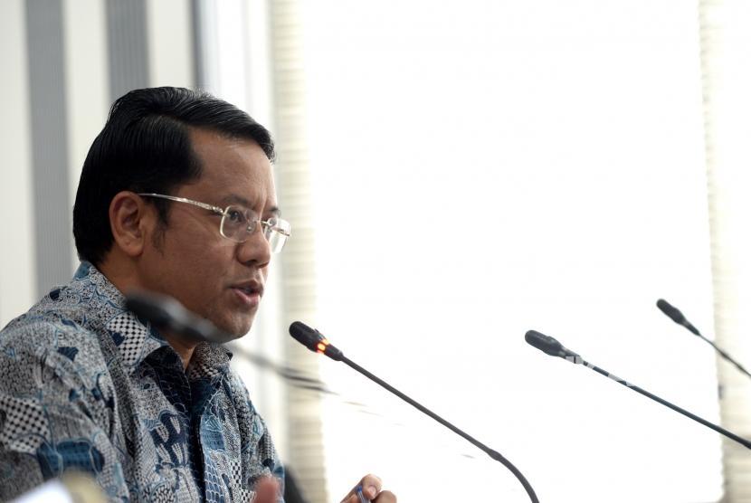 Jelang Pameran Pendidikan Islam Dunia. Dirjen Pendidikan Islam Kemenag Kamaruddin Amin memberikan konferensi pers terkait Pameran Pendidikan Islam Dunia di Jakarta, Rabu (15/11).