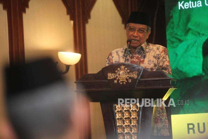 Ketua Pengurus Besar Nahdlatul Ulama (PBNU) Said Aqil Siroj memberikan sambutan saat peluncuran Rumah Pangan Santri di Kantor PBNU Pusat, Jakarta, Rabu (3/10).