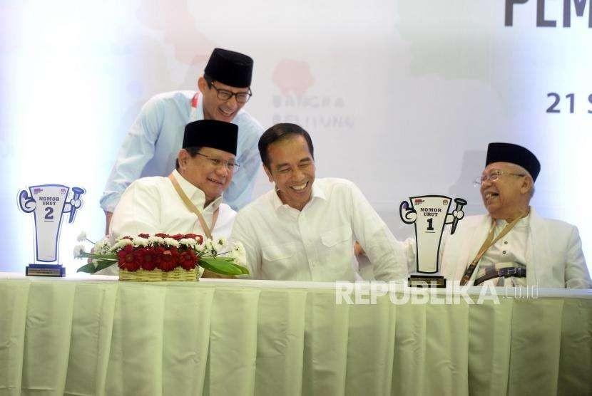 Pengundian nomer urut Pilpres 2019 di KPU, Jakarta, Jumat (21/9) malam.