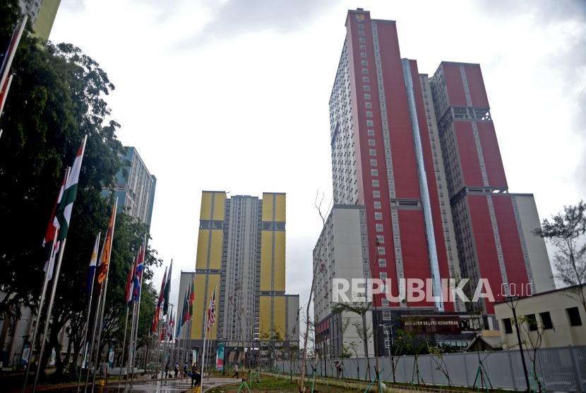 Suasana Wisma Atlet Kemayoran, Jakarta, Ahad (4/2).