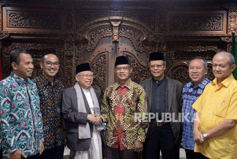 Ketua Umum PP Muhammadiyah Haedar Nasir menerima Bakal Calom Wakil Presiden Ma'ruf Amin di Gedung Pusat Dakwah Muhammadiyah, Jakarta, Rabu (5/9).