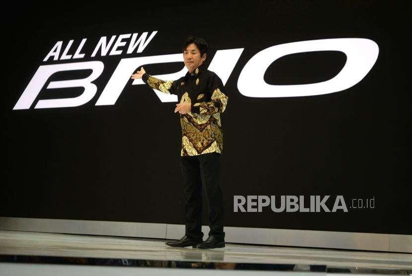 Peluncuran Honda New Brio. Presiden Direktur HPM Takehiro Watanabe memberikan sambutan saat peluncuran mobil All New Brio saat GIIAS 2018 di ICE BSD, Tangerang Selatan, Banten, Kamis (1/8).