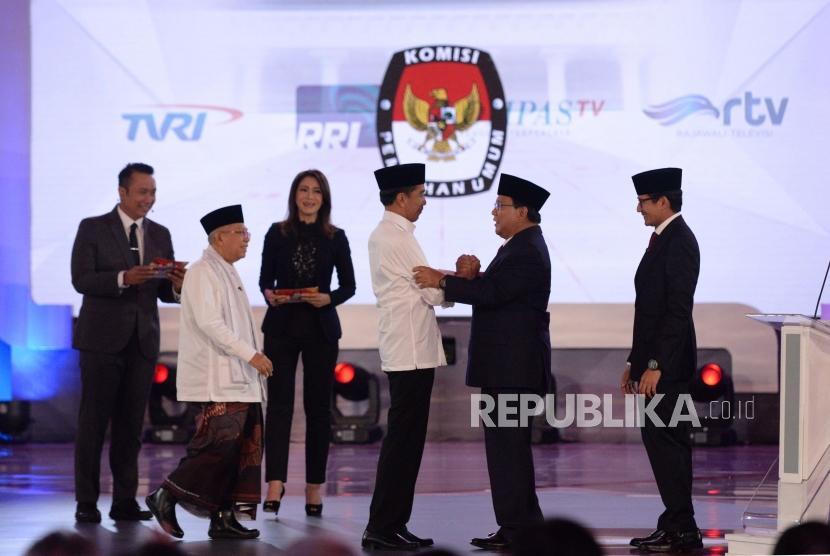 Suasana usai debat pertama pasangan calon presiden dan wakil presiden pemilu 2019 di Jakarta, Kamis (17/1).