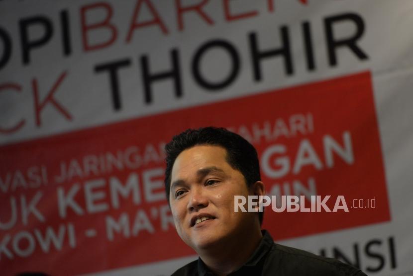 Ngopi Bareng Erick Thohir. Ketua TKN Jokowi-Maruf Amin, Erick Thohir menyampaikan paparan saat acara Ngopi bareng Erick Thohir di Jakarta, Selasa (27/11).