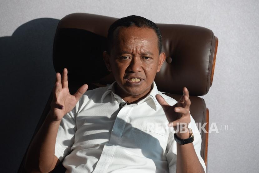 Ketua Himpungan Pengusaha Muda Indonesia (HIPMI) Bahlil Lahadalia saat di wawancarai Republika di Jakarta,Kamis (18/4).
