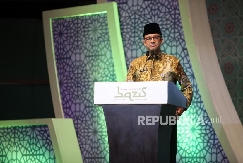 Gubernur DKI Jakarta Anies Baswedan memberikan sambutan saat acara Peduli Umat 1439 H BAZIS Provinsi DKI Jakarta di Balai Sidang Senayan, Jakarta, beberapa waktu lalu.