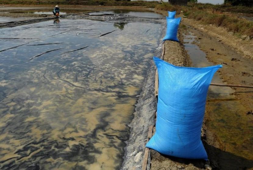[ilustrasi] Petani memanen garam di lahan tambak di Kabupaten Pati, Jawa Tengah.