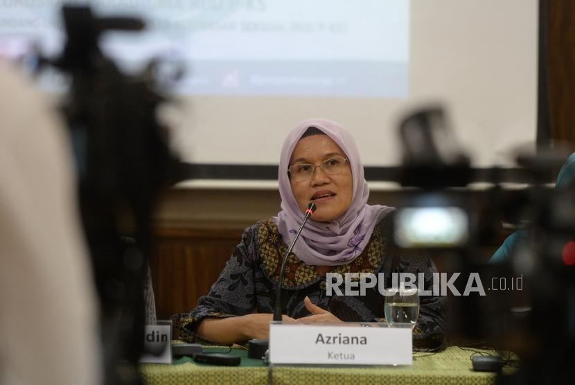 RUU Penghapusan Kekerasan Seksual. Ketua Komnas Perempuan Azriana meyampaikan paparan saat konferensi pers di Komnas Perempuan, Jakarta, Rabu (6/2/2019).