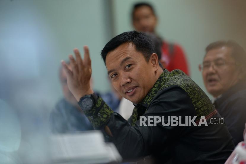 Progress Persiapan Atlet Asian Games. Menpora Imam Nahrawi memberikan paparan saat silaturahim ke Republika, Jakarta, Rabu (4/4).