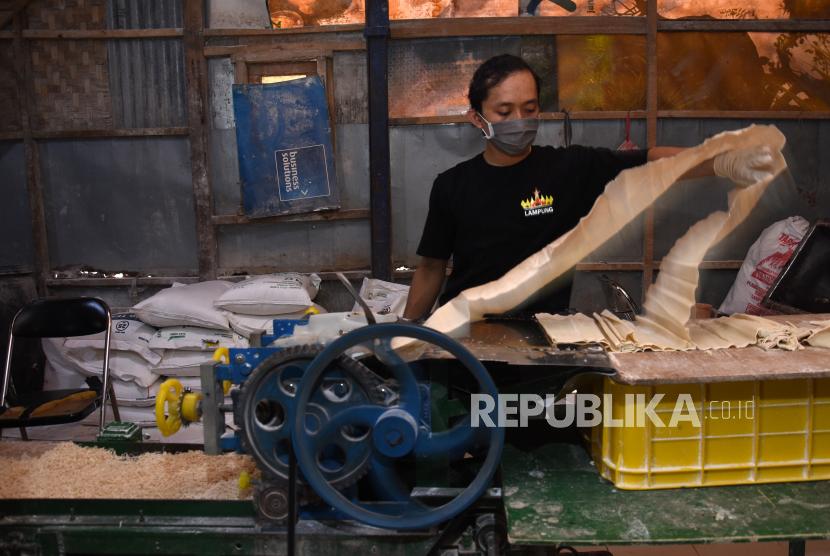 Pekerja memproduksi mie dan kulit pangsit di sentra industri rumahan Mie Ayam Langgeng di Depok, Jawa Barat, beberapa waktu lalu. (ilustrasi)