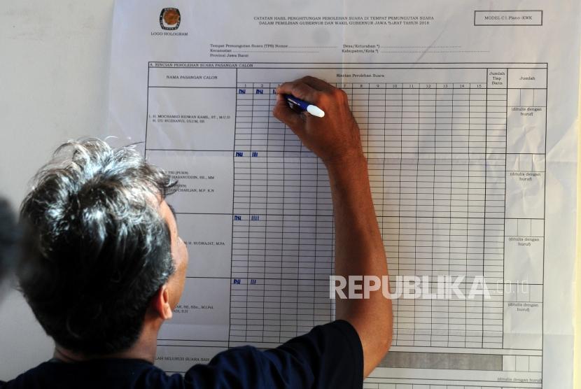 Petugas melakukan penghitungan suara Pilkada serentak 2018 di TPS 19, Sempur, Bogor, Jawa Barat, Rabu (27/6).