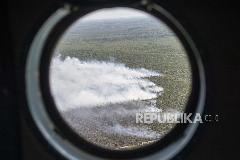 Greenpeace Indonesia mendorong pemerintah membuat kebijakan moratorium izin perkebunan sawit menjadi permanen. Sebab, pemerintah mulai mengkaji lagi keberlangsungan aturan ini. (Foto ilustrasi: Asap dari lahan perkebunan kelapa sawit)