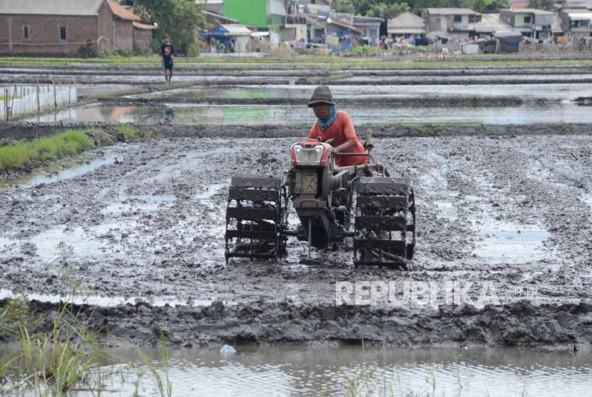 Petani membajak sawah dengan menggunakan traktor di daerah Rancanumpang, Gedebage, Kota Bandung. Inovasi berbasis teknologi pertanian akan dapat meningkatkan kualitas dan produktivitas hasil tani