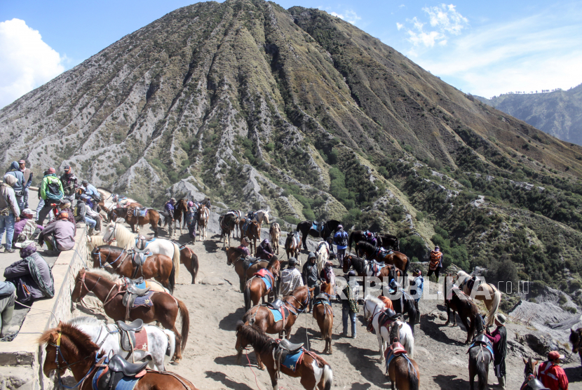 Pemilik kuda menunggu wisatawan untuk menyewa tunggangan di Gunung Bromo, Probolinggo, Jawa Timur, Ahad (13/6/2021). Para pemilik kuda tersebut menawarkan jasanya kepada wisatawan yang ingin menuju puncak Gunung Bromo menggunakan kuda dengan tarif Rp50 ribu sampai Rp150 ribu.