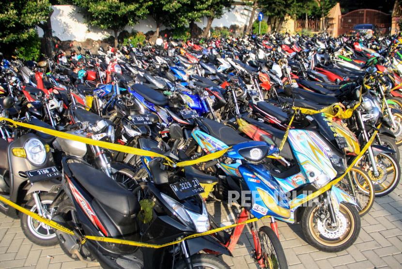Sepeda motor yang diamankan dari aksi balap liar (ilustrasi).