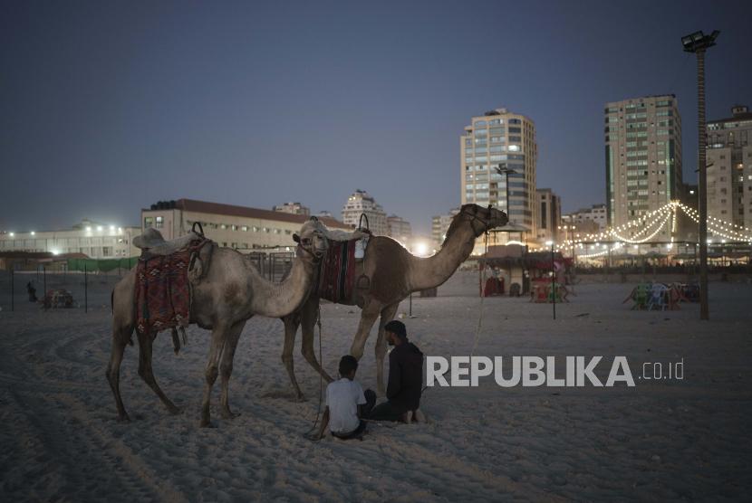 Warga Palestina duduk di samping unta mereka pada malam hari di pantai di Kota Gaza, Minggu, 6 Juni 2021.