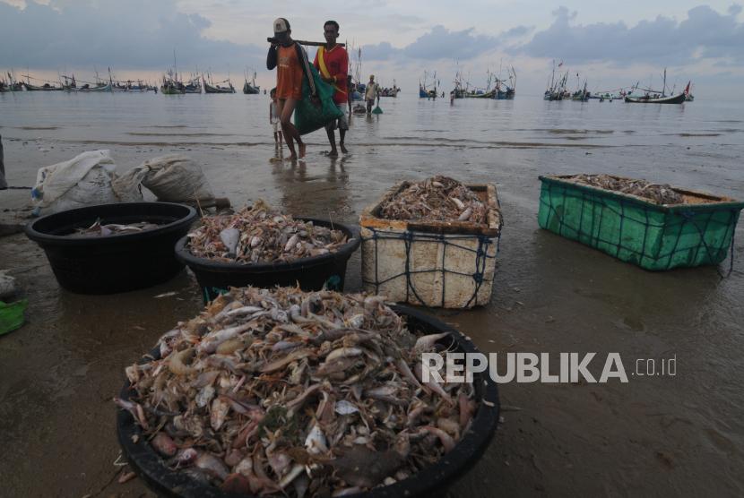 Nelayan menurunkan ikan tangkapannya di Pantai Jumiang, Pamekasan, Jawa Timur, Selasa (7/4/2020). Berdasarkan data KKP ekspor perikanan Indonesia periode Januari-Maret 2020 ke sejumlah negara naik dari periode sebelumnya diantaranya AS dari 36