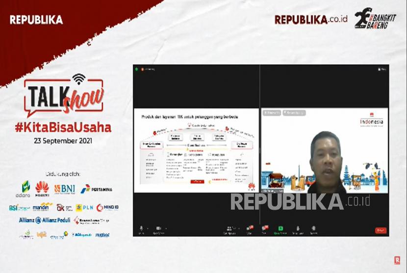 Director ICT Strategy & Business PT. Huawei Tech Investment Mohamad Rosidi menjadi narasumber dalam talkshow online di Jakarta, Kamis (23/9). Talkshow yang diselenggarakan oleh Republika ini mengangkat tema KitaBisaUsaha.Prayogi/Republika.
