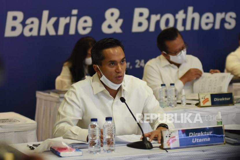 Direktur Utama PT Bakrie & Brothers Tbk (BNBR) Anindya N Bakrie, yang juga Wakil Ketua Bidang Organisasi, Keanggotaan, dan Pemberdayaan Daerah Kadin Indonesia, Anindya N Bakrie.