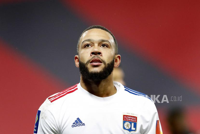 Memphis Depay dari Olympique Lyon.