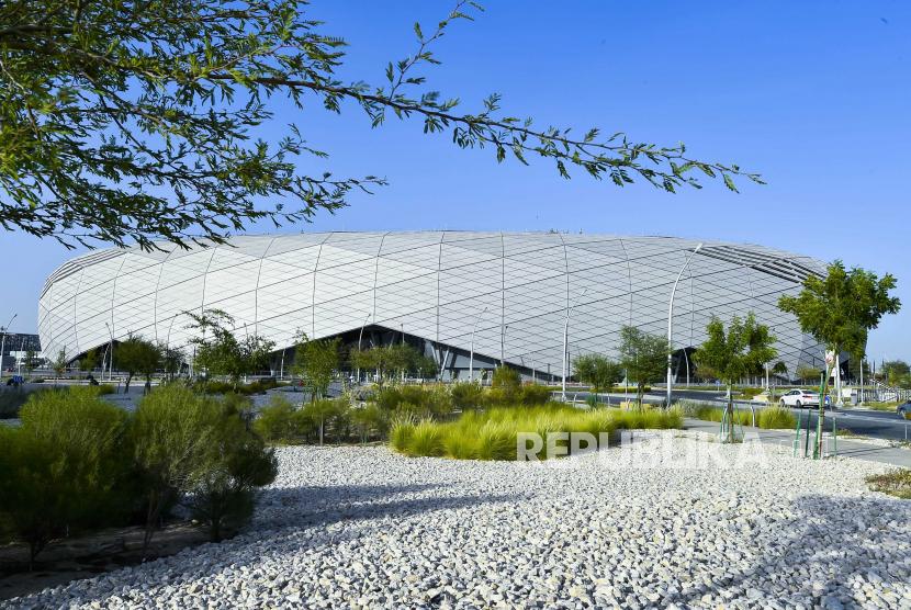 Stadion Education City, salah satu tempat pertandingan Piala Dunia FIFA 2022, di Doha, Qatar.
