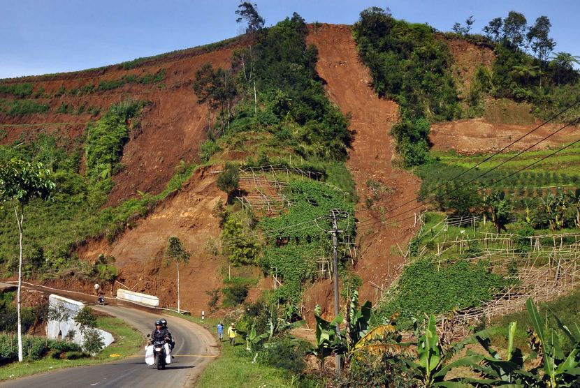 Kondisi tanah longsor di kawasan dataran tinggi Dieng / Ilustrasi