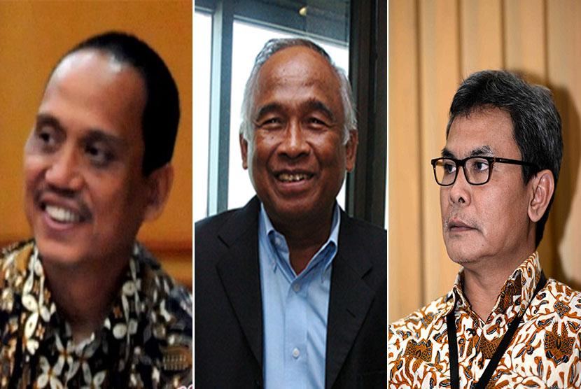 Pelaksana tugas (plt) pimpinan KPK, (dari kiri) Indriyanto Seno Adji, Taufiqurrahman Ruki dan Johan Budi.