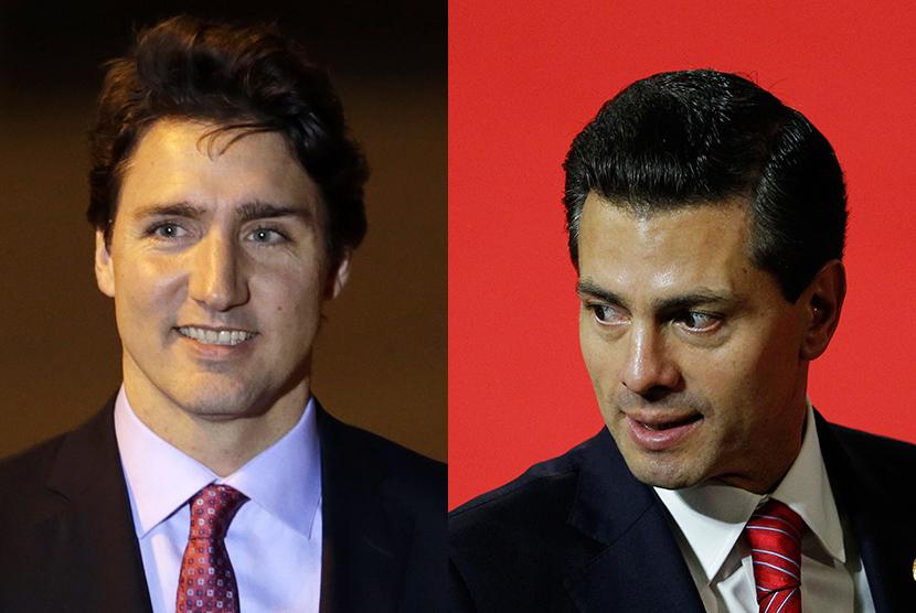 PM Kanada Justin Trudeau (kiri) dan Presiden Meksiko Enrique Pena Nieto (kanan).