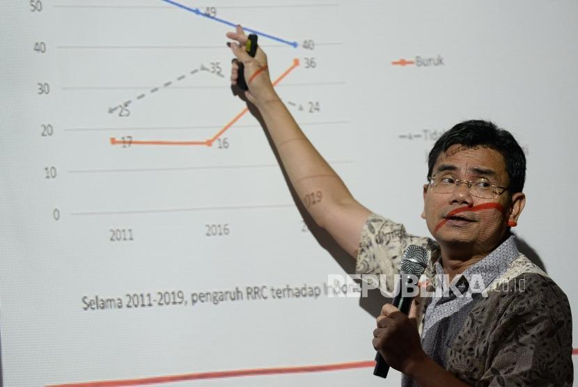 Direktur Eksekutif Lembaga Survei Indonesia (LSI) Djayadi Hanan menyampaikan pemaran tentang persepsi publik terhadap negara-negara paling berpengaruh di Asia saat Rilis Temuan Survei Nasional di Jakarta, Ahad (12/1).