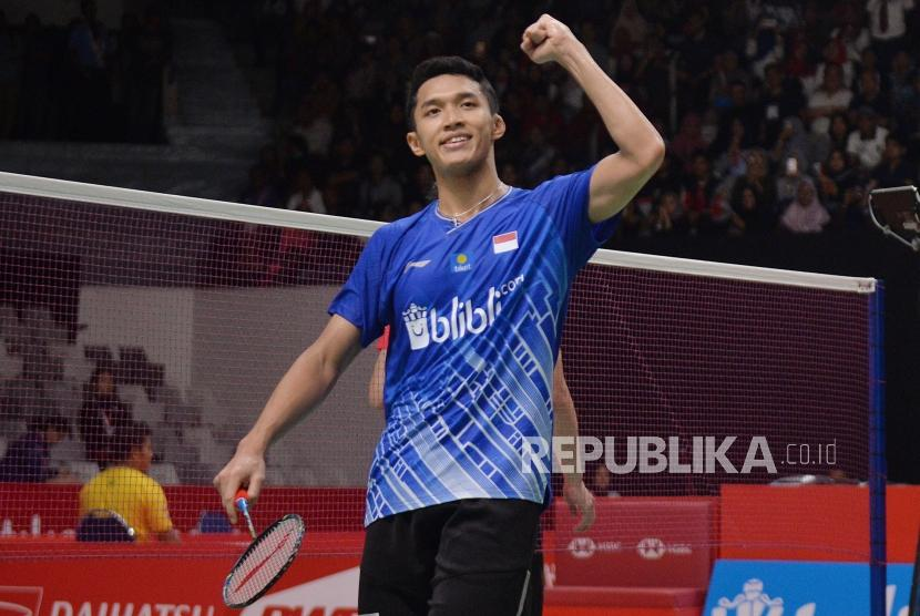 Pebulu tangkis tunggal putra Indonesia Jonatan Christie.