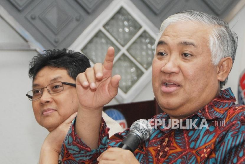 Mantan Ketua Umum PP Muhammadiyah Din Syamsuddin (kanan). (Republika/Darmawan)