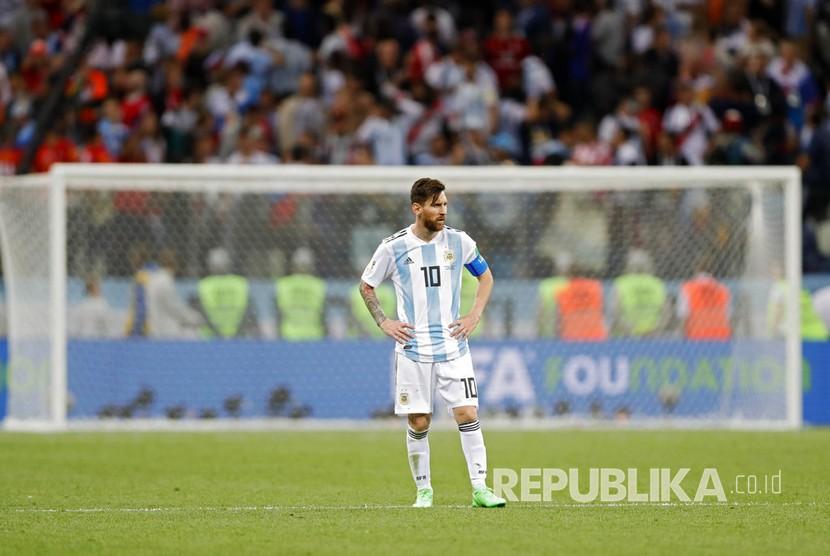Bintang Argentina Lionel Messi tidak mampu memenangkan pertandingan lawan Kroasia pada pertandingan grup D Piala Dunia 2018 di Nizhny Novgorod, Jumat (22/6) dini hari WIB.