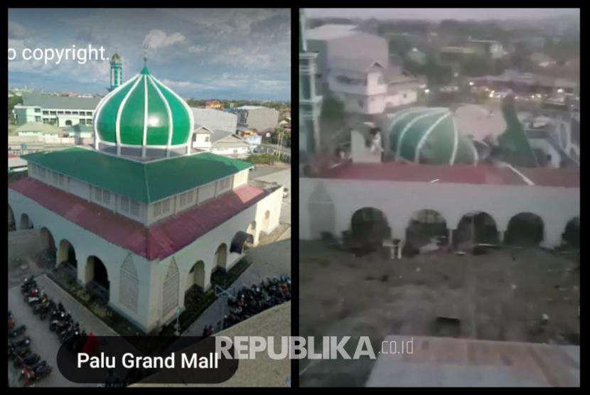 Foto kolase suasana Masjid Baiturahman,Palu, sebelum dan setelah gempa yang diikuti gelombang tsunami. Foto kiri diambil dari aplikasi streetview google, foto kanan diambil dari capture video netizen.