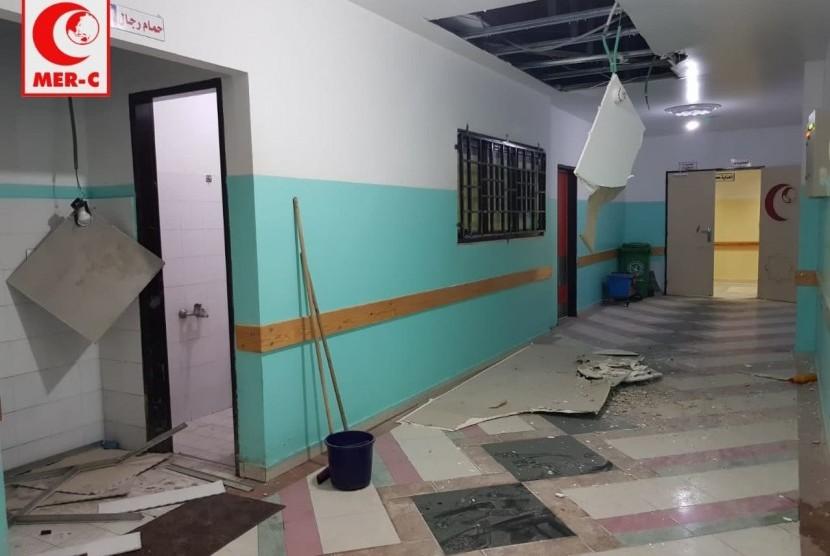RS Indonesia yang berada di Gaza rusak akibat serangan  militer Israel.