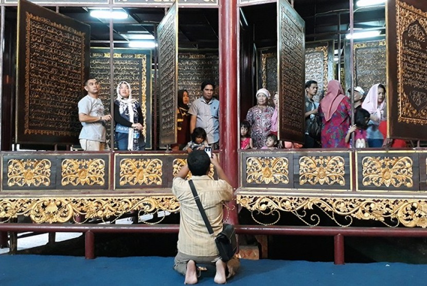 Halal tourism destination in South Sumatra, Bait Alquran or Alquran Akbar which made of two meters high and 1,5 meters wide wood sheet.