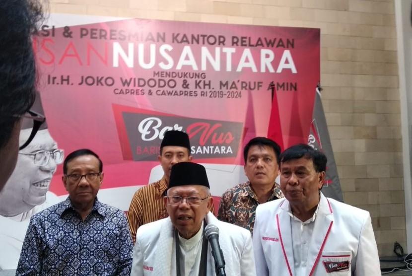 KH Ma'ruf Amin hadiri deklarasi Barisan Nusantara. Kelompok ini mendeklarasikan diri sebagai pendukung Jokowi-Maruf di Pilpres 2019. Jakarta, Sabtu (10/11).