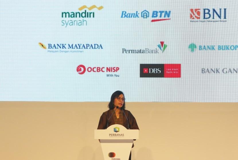Menteri Keuangan Sri Mulyani Indrawati memberikan paparan pada acara Indonesian Banking Expo (IBEX) 2018 di Jakarta, Kamis (15/11/2018).