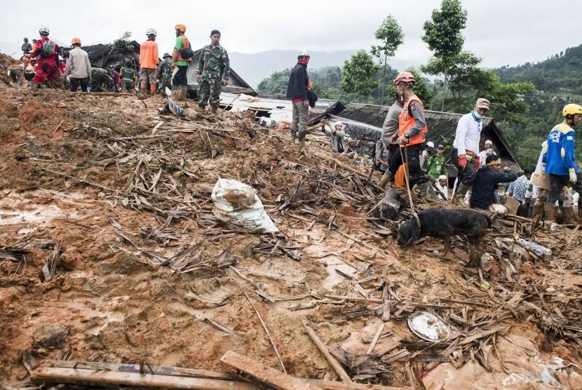 Petugas gabungan bersama anjing pelacak mencari korban yang tertimbun tanah longsor di kampung Cimapag, Desa Sirnaresmi, Kecamatan Cisolok, Kabupaten Sukabumi