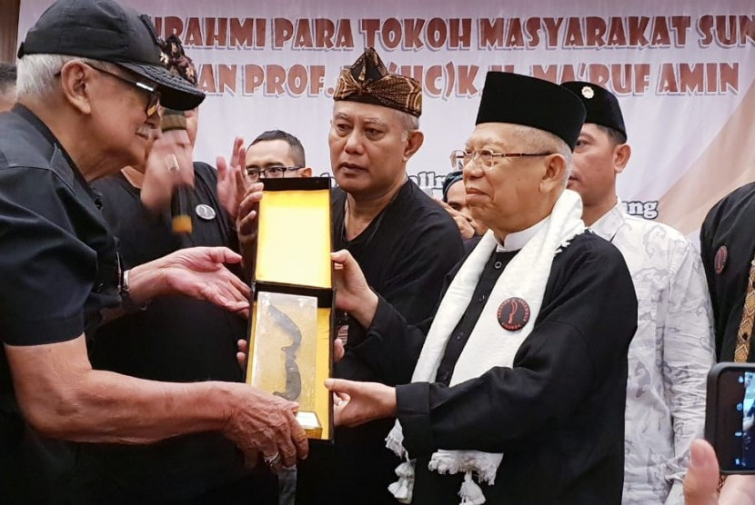Calon Wakil Presiden nomor urut 01, KH. Ma'ruf Amin bertemu tokoh sunda di Bandung, Sabtu (19/1).