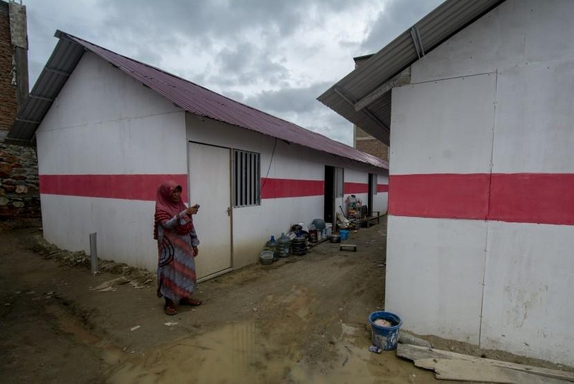 Warga terdampak bencana berada di sekitar Hunian Sementara (Huntara) di Palu (ilustrasi)