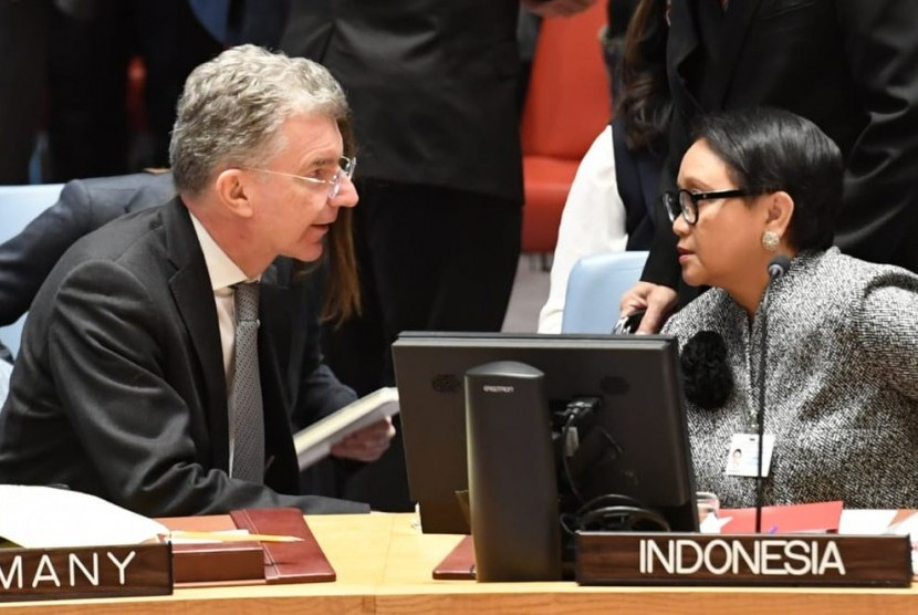 Indonesian Foreign Minister Retno Marsudi attends the United Nation Security Council (UNSC) Open Debate on the situation in the Middle East on Tuesday local time.