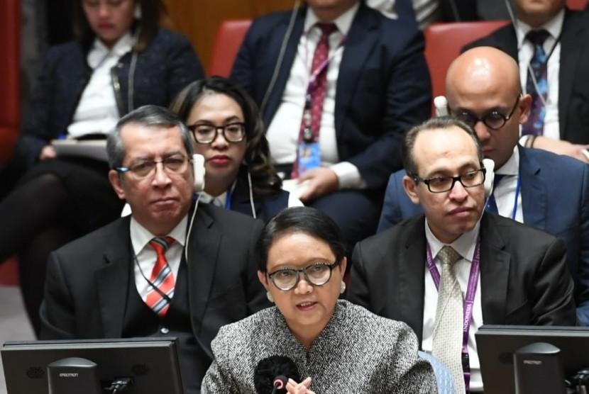 Menteri Luar Negeri RI Retno Marsudi dalam Debat Terbuka Dewan Keamanan PBB membicarakan soal Situasi Timur Tengah, di New York, Amerika Serikat (AS), Selasa (22/1) waktu setempat.