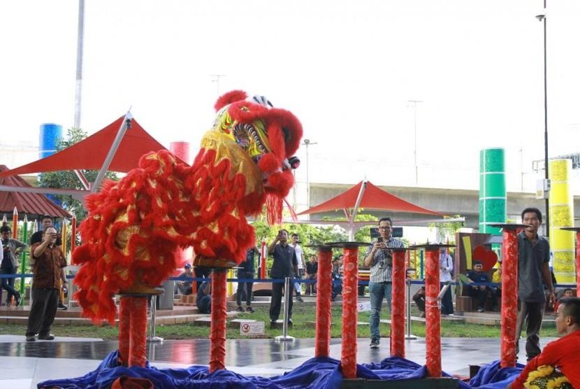 Perayaan Imlek di Bandara Soekarno-Hatta, Selasa (5/2).