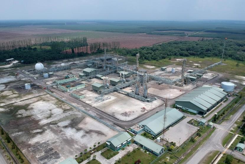 Foto udara kilang minyak blok Jambi Merang di Desa Kali Berau, Bayung Lencir, Musi Banyuasin, Sumsel, Sabtu (9/2/2019).