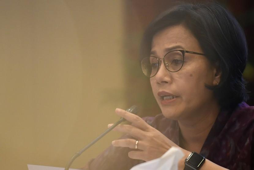 APBN 2019: Menteri Keuangan Sri Mulyani menyampaikan realisasi Anggaran Pendapatan dan Belanja Negara (APBN) 2019 di Kementerian Keuangan, Jakarta, Rabu (20/2/2019).