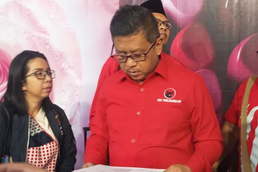 Sekretaris Tim Kampanye Nasional Koalisi Indonesia Kerja (TKN KIK) Hasto Kristiyanto.