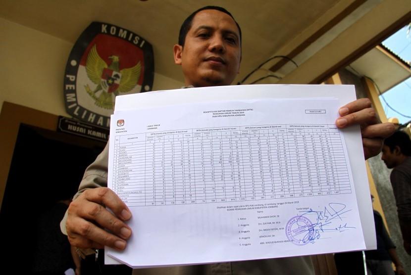 [ilustrasi] Komisioner KPU Jombang, Abdul Wadud Burhan Abadi, menunjukan jumlah Daftar Pemilih Tambahan (DPTb) usai rapat pleno terbuka di Kabupaten Jombang, Jawa Timur, Rabu (20/3/2019).