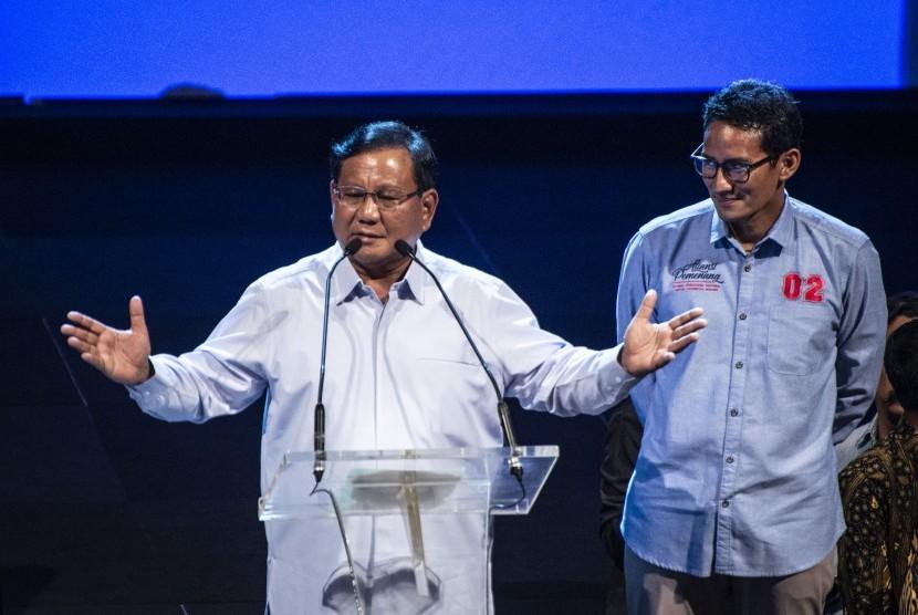 Pasangan calon presiden dan calon wakil presiden nomor urut 02 Prabowo Subianto (kiri) dan Sandiaga Uno (kanan).