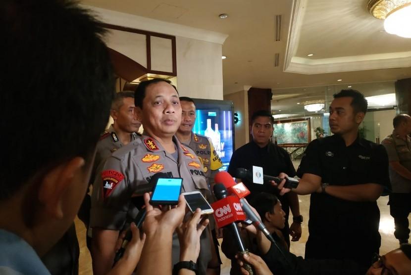 Kapolda Metro Jaya,  Irjen Gatot Eddy, usai meninjau lokasi debat capres di Grand Ballroom Hotel Shangri-La,  Jakarta  Pusat,  Jumat (29/3). Kepolisian telah menyiapkan  skenario pengamanan dan rekayasa lalu lintas  selama pelaksanaan  debat keempat  pemilu itu