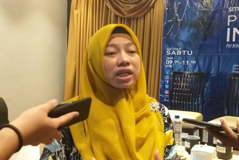 Direktur Eksekutif Perludem Titi Anggraini usai diskusi Perspektif Indonesia di kawasan Cikini, Jakarta Pusat, Sabtu (30/3).